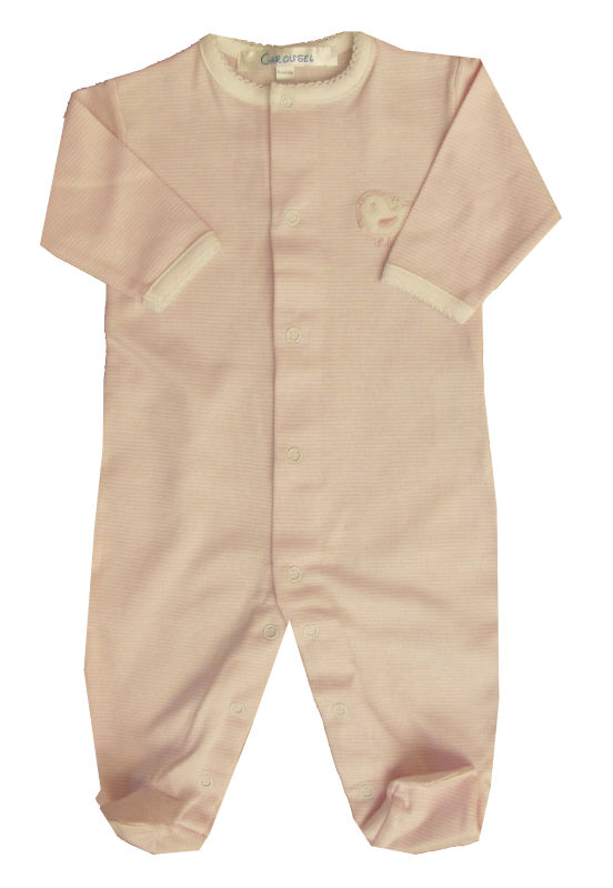 Baby Round Collar Footed Layette Pink Stripe Fabric 100% Peruvian Pima Cotton
