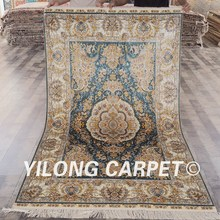 Indian hand knotted rugs Yilong 4'x6' turkish design floral handmade silk carpet indian hand knotted rugs