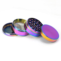 JL-304JA 55MM Zinc Custom Rainbow Color Herb Grinder Dispenser Cleaning Brush Herb Grinder Chromium Crusher