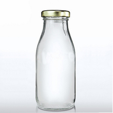 250ml empty milk glass beverage drinking bottle with metal lid