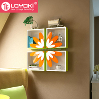 2016 new design colorful wall cube with flower door original home wall decoration mounted wall shelf
