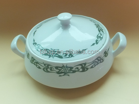 Restaurant Hotel used soup Tureen ceramic pot cheap bulk stockd tureen