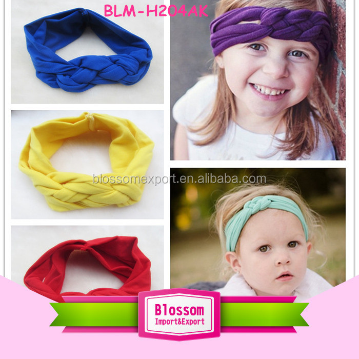 Attractive floral printed baby knot headbnad flower headwrap headbands for baby girls