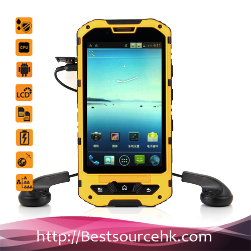 China suppliers mobile rugged phone land rover a8 android 4.2 ip68 phone with nfc