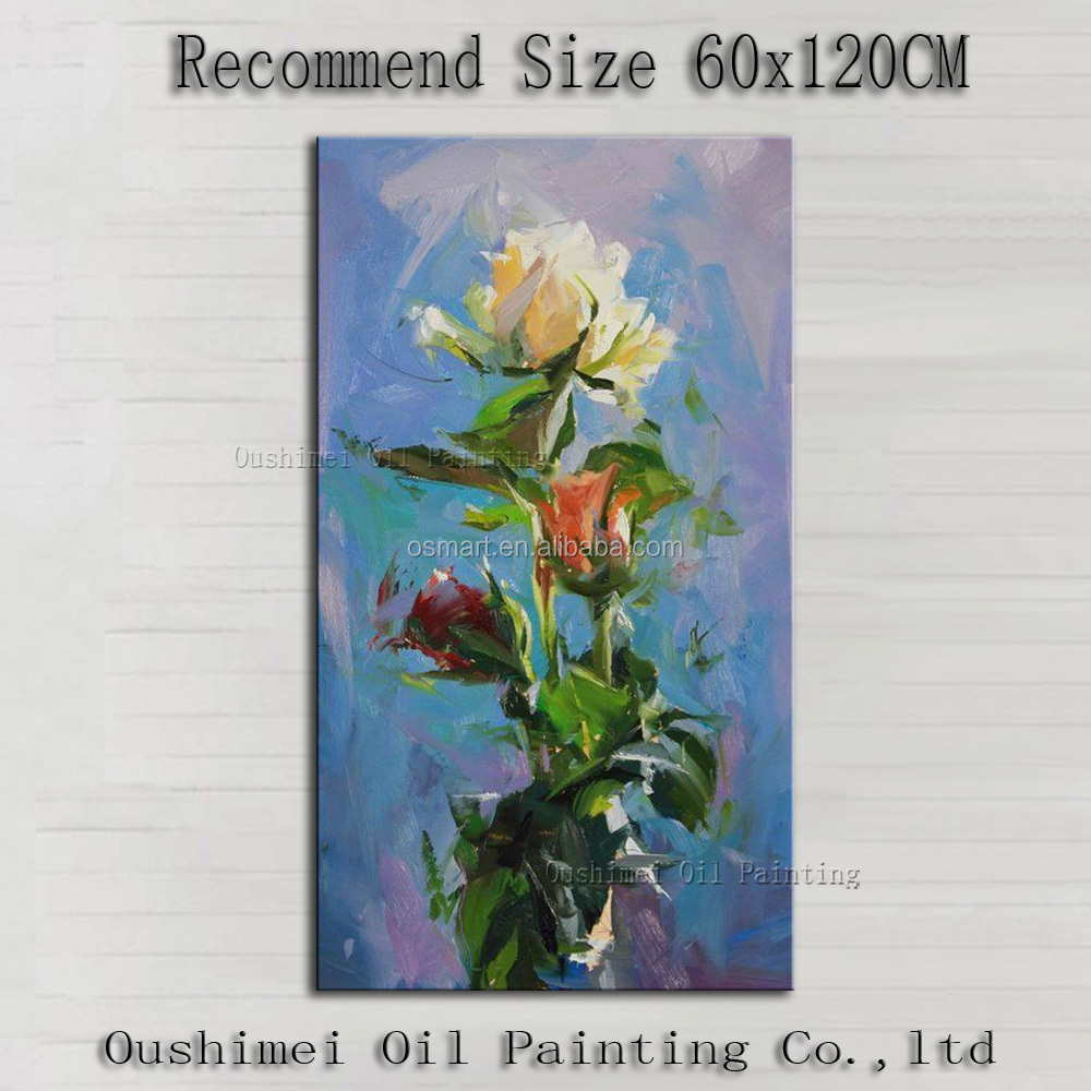 Free Shipping High Quality Modern Abstract Flower in Vase Oil Painting on Canvas Impression Flower Oil Painting for Bedroom