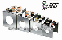 Cube-Shaped Food Safety Standard Stainless Steel Display Stand/Display Riser/Storage Rack for Buffet