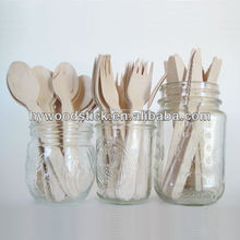 Disposable Birch Wood Travel Cutlery Set With Case