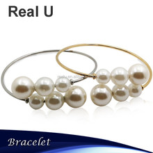 Faux Pearl Stainless Steel Cuff Bracelet for Girls