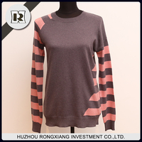 women Long design stripe computer knitted sweater for cold weather