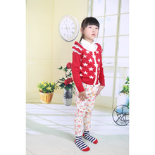 Five-pointed star print round neck sweater knitting pattern red fashion girls cashmere cardigan for