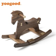Yoogood Solid Walnut Wood Rocking Horse For Kids