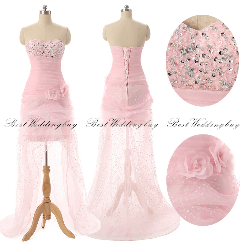Hotsale Youthful Sweetheart Pink Sequins Lace-up Hi-Lo Organza Handmade Flowers Prom Dresses