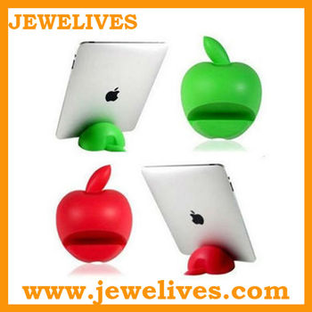fashion apple shape green silicone stand for ipad