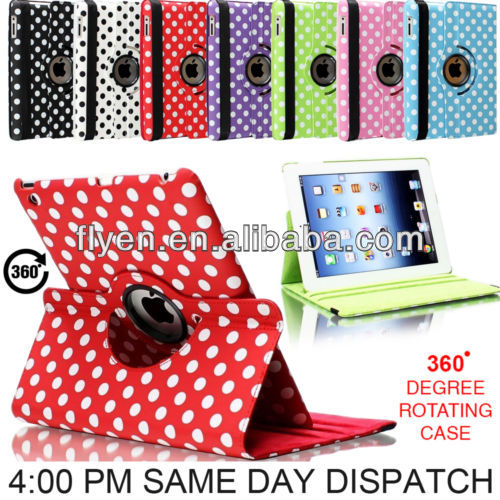 2014 cheap newest 360 rotatingpolka dot pu leather case for ipad air 5,For iPad air,for ipad 5 smart magnetic cover