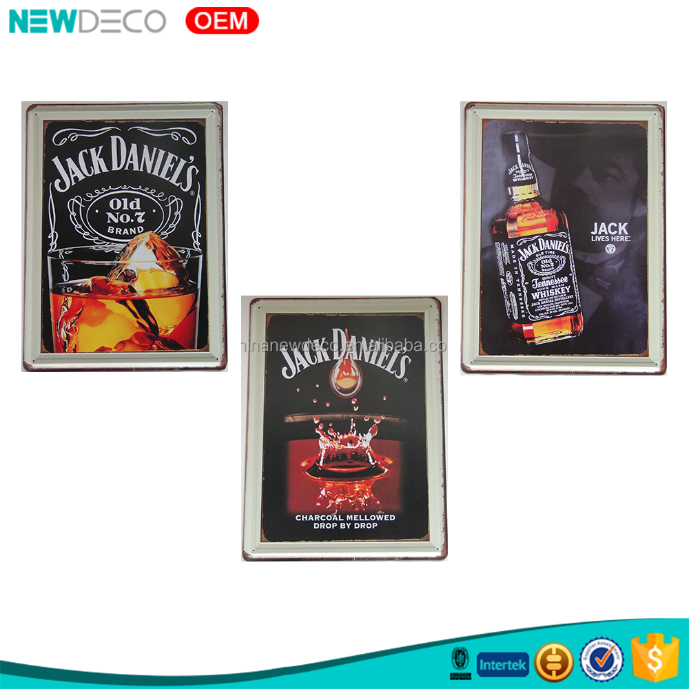 Whiskey theme hot sale <strong>art</strong> wholesale and custom home decor tin sign