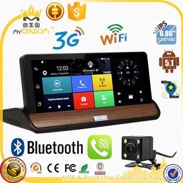 7 inch 3G GPS WiFi Hotspot Android 5.0 Dashboard GPS Navigation Dual Lens Bluetooth FHD1080P 1GB RAM Rear View Camera DVR