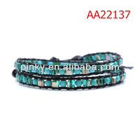 Wholesale Crystal and Turquoise Warp Bracelet On Natural Dark Leather