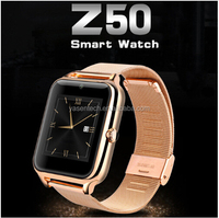 Bluetooth z50 smart watch Intelligent Clock Phone with Metal Frame Leather and Steel Strap GSM/GPRS SIM Slot NFC Camera