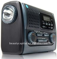 Multifunction hand-cranking DAB Radio with flashlight lamp mobile phone charger radio