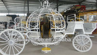 White romantic princess carriage with yellow pedal for wedding