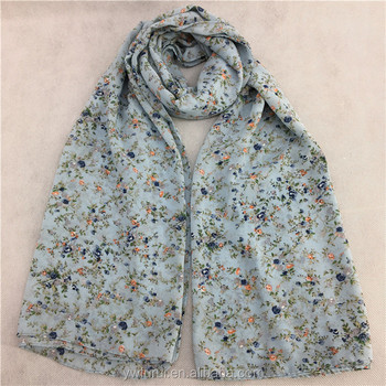New Design Printed Flower Chiffon Soft Scarve Long Muffler Shawls Muslim Hijab Islamic Scarf Big Size