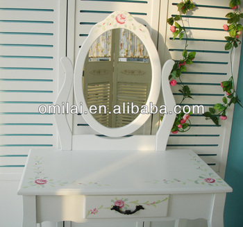 cosmetic luxuious table with two drawers dressing mirror