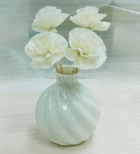 Twisted -fibred Ceramic Vase with Sola Flower TS-FD155