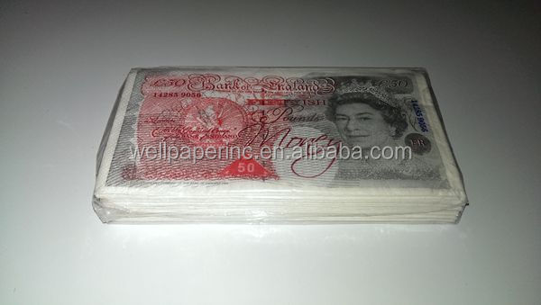Printed Feature and Lunch Napkin Application paper like paper money