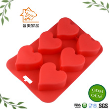 HIMI 6 Cavity kitchen silicone heart-shape chocolate/soap/cake/pudding mold