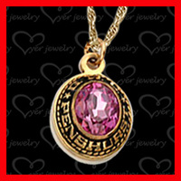 cheap custom gold stainless steel class ring pendant with birthstone