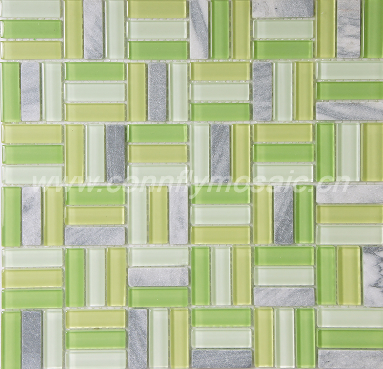 Green yellow color glass mix marble tile strip mosaic