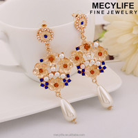 MECY LIFE wholesale flower shape diamond pearl drop fashion earrings for 1 dollar