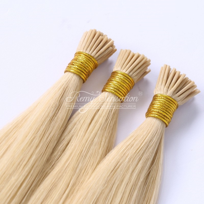 remy virgin human hair pre-bonded stick hair 1g i tip hair extensions Ash Blonde #22