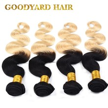 Wholesale Brazilian Hair Weave Bundles 1B Root Weft /Blonde Ombre Color Weft Human Hair Extensions