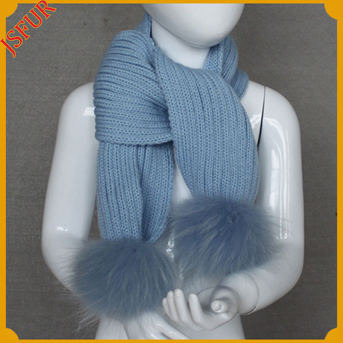 Unique New Raccoon Fur Kids Scarf Wool Knitted Long Winter Baby Scarves With Two Detachable Raccoon Fur Pom Poms