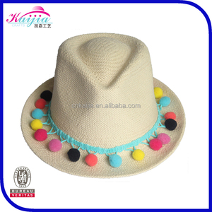 The most classical fedora with pompom decorate band
