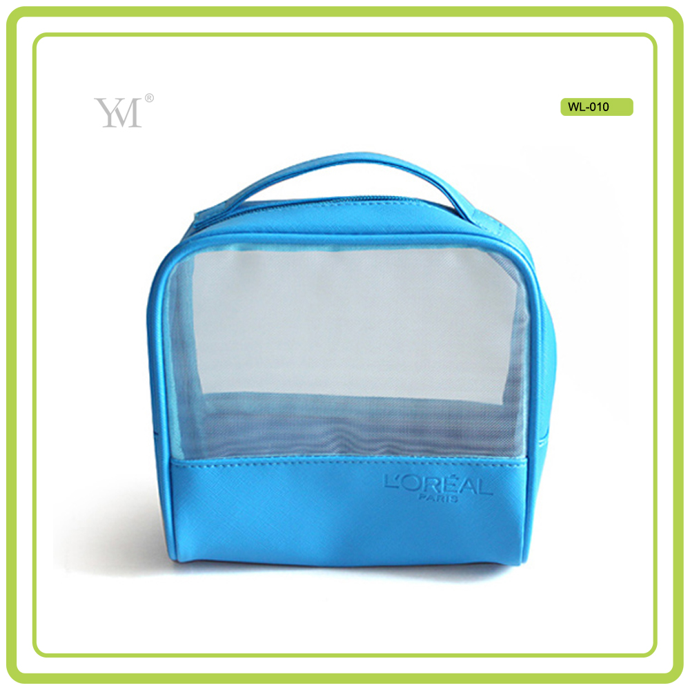Factory Price cheap mesh cosmetic bag,custom cosmetic bag with zipper