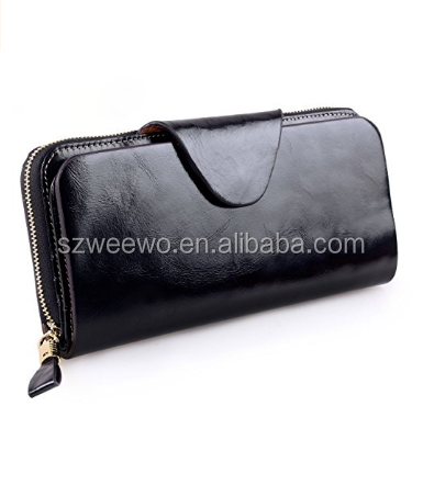BLack Luxury Women Leather Wallet Zipper Ladies Clutch Purse