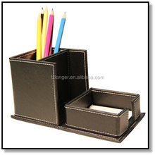 Faux Leather Pen Container with Memo Pad Holder