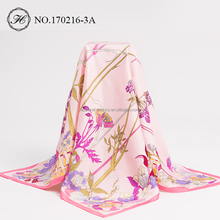 Wholesale 2017 New Hot-Selling Fashion Screen Printing Twill 100% 90x90 Silk Scarf Square For Women