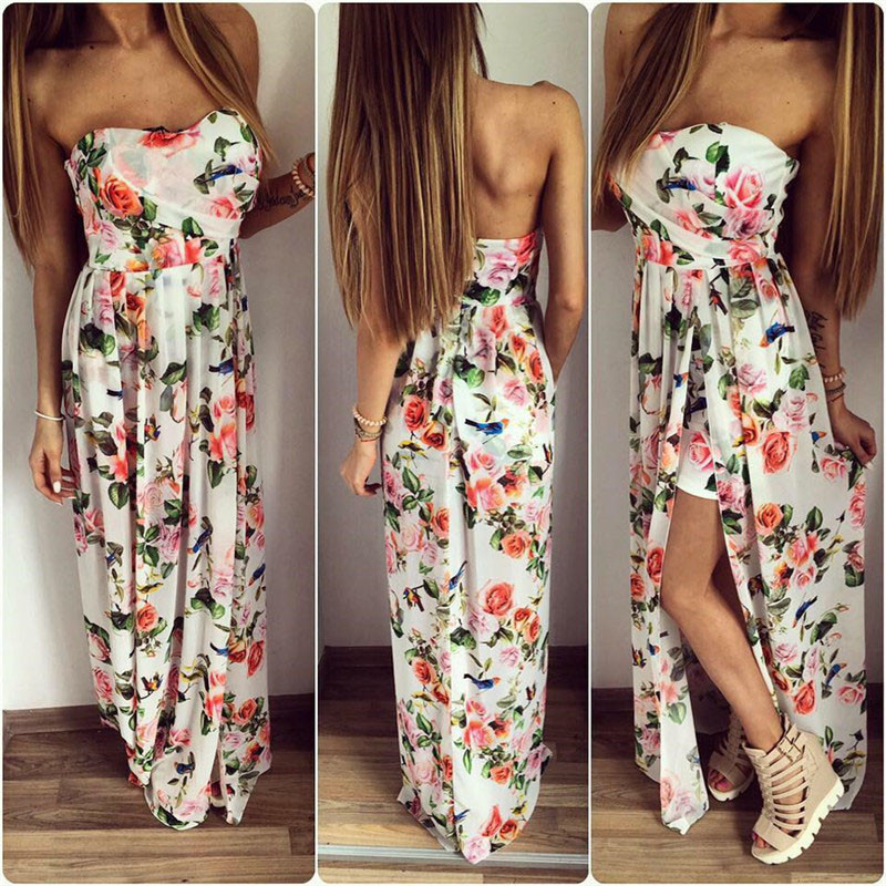 F20395A Hot sale women prom dress floral printed strapless elegant maxi dress split evening dress for ladies