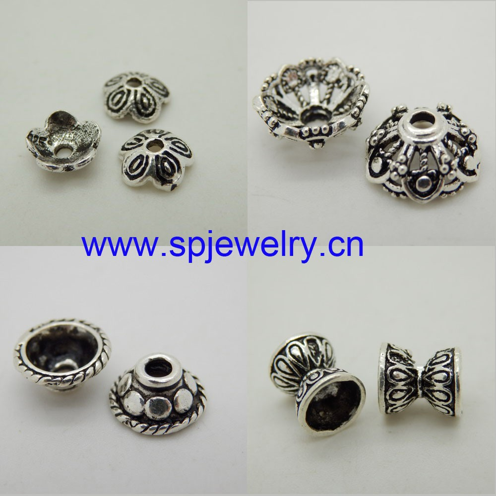 silver bead end caps, wholesale silver jewelry findings