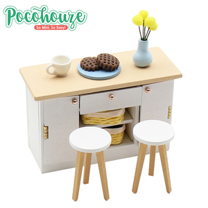 Funny toy 100% DIY table chair set 1:18 wooden miniature dollhouse furniture wholesale