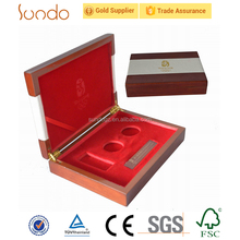 wooden metal leather coin packaging box velvet insert in low price