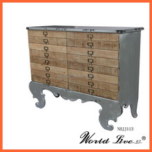 NHJJ113 2015 Promotional European Antique Style Silver Wooden Cabinet