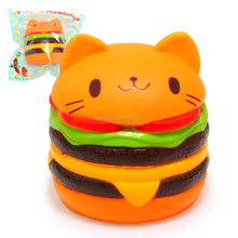 Factory Adorable Squishy Cat Burger Slow Rising Kawaii Scented Soft Squishy Cat Hamburger Toys