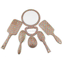 Cushion hair brush & Make up mirror & tangle brush set
