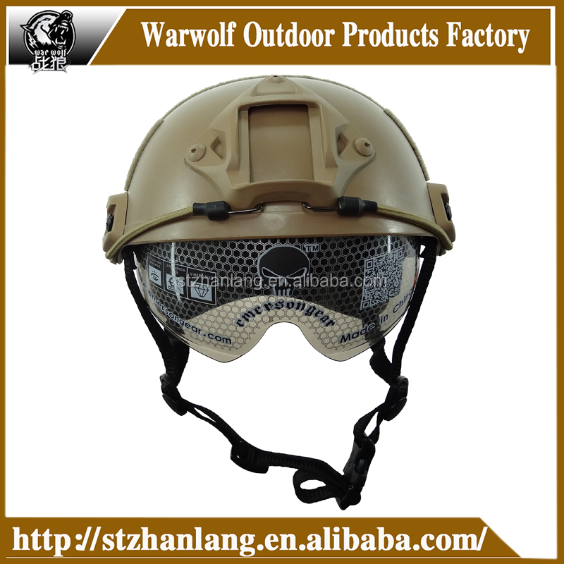Hot Selling Helmet with Protective Goggle Base Jump Type ABS helmet Military airsoft helmet in Tan