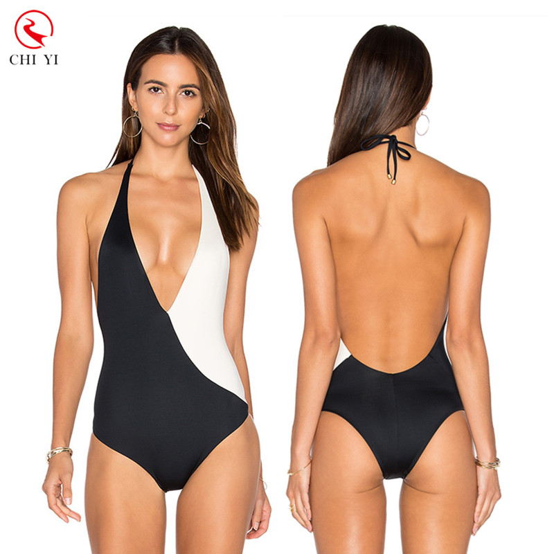 Custom made hot sexy Japanese women bikini black and white one piece swimsuit