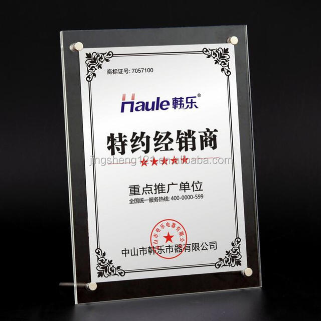 Crystal transparent table frame advertising display card stand paper photo frame on wedding or office table